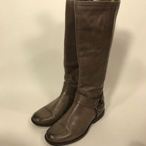 Frye Phillip Harness tall boots soft leather gray